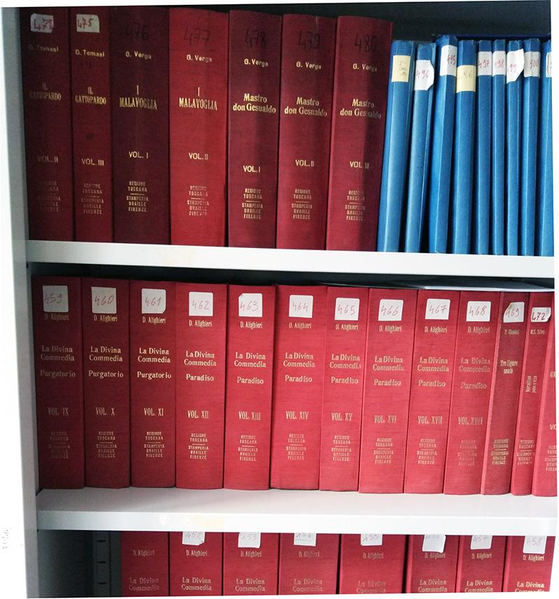 scaffale con libri catalogati presso la biblioteca Maria Motta del MAC di Siracusa