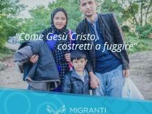 In foto ritratta una famiglia di sfollati, mamma, padre e figlio scelti per rappresentare  il tema