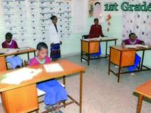 ragazzi non vedenti in classe in Gondar