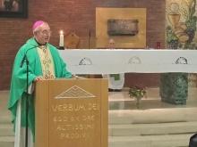 Monsignore ritratto durante la celebrazione eucaristica