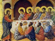 Immagine del Dipinto di Duccio di Buoninsegna , L'Apparizione di Cristo durante la cena con gli apostoli